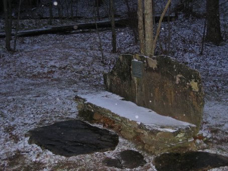 Snow at the rock bench