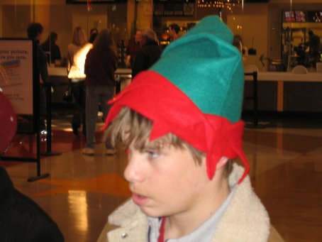 Dylan in an elf hat