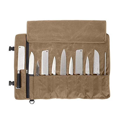 Qees Sac à couteaux de chef 11 emplacements, sac à couteaux en toile cirée robuste, étui étanche pour le camping, la randonnée, sac à outils multifonction, kaki, 66 * 50CM