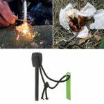 Allume-feu 1/3 po d'épaisseur, allume-feu de survie étanche d'urgence au magnésium, tige de fer forée Bushcraft avec gâche multi-outils pour le camping, la randonnée, la randonnée, la chasse