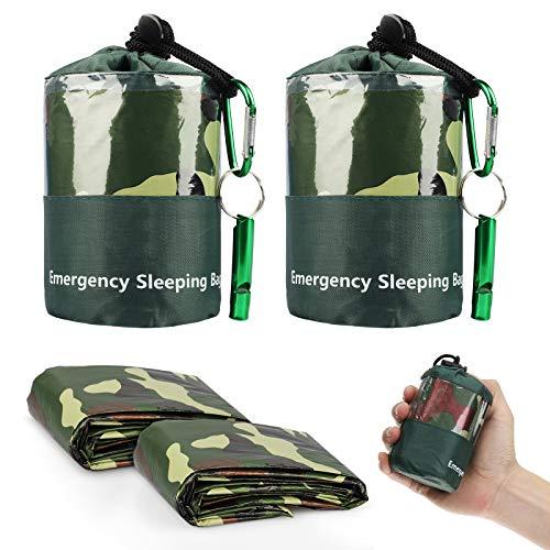 Sac de couchage d'urgence, 2PCS sacs de bivouac de survie légers et imperméables, couvertures thermiques d'urgence avec sifflet de survie pour le camping, la randonnée, les activités de plein air