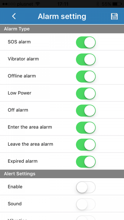 set the alarms and alerts for your Streetwise tracker