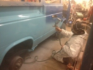 T3 bus being resprayed in blue