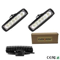 "EVERGROW® 2x Slim 18W 6""-8"" Flood LED Work Light Marine jet sail cruiser fishing Boat yacht cabin Deck Docking RV Camper Motorhome ship tower searay bayliner fishing cabin ski exterior porch back up cruiser bayliner searay catalina travel trailer camper mercedes sprinter backup fog running van toybox toy box hauler race car trailer 6000K high output 12v 24v"