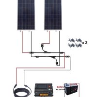 ECO-WORTHY 300W Polycrystalline Solar Starter Kit: 2pcs 160W Poly Solar Panels+20A Auto Switch LCD Intelligent Charge Controller+50Ft Solar Cable Adaptor+Y MC4 Connector+Solar Panel Mounting Brackets