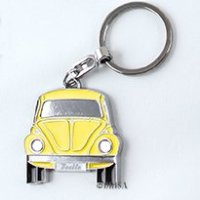 VW Collection by BRISA Genuine Volkswagen VW YELLOW Classic Bug Beetle Keychain and Metal Embossed Gift Box
