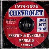 1974 1975 1976 Chevy Truck Shop Manual CD Pickup Blazer Suburban Van Chevrolet