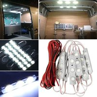 AMBOTHER 30 LED White Interior Lights Lamp Kit For LWB Van Trailer Lorries Sprinter Ducato Transit VW with LED Project Lens (10 Modules)