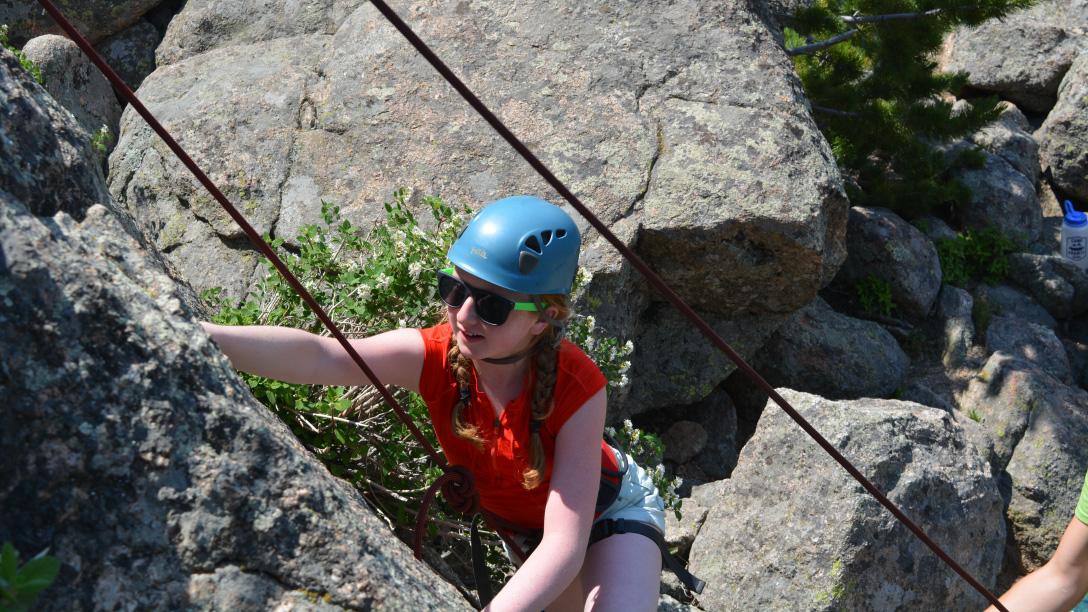 Climbing at camp