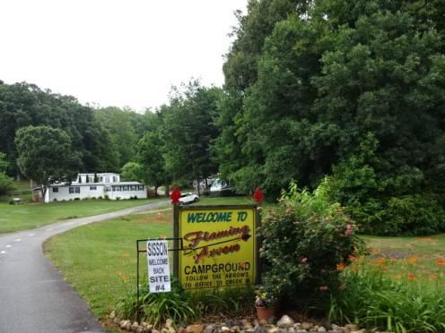 Flaming Arrow sign at entrance