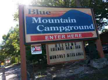 Blue Mountain Campground in Reeds Spring Missouri Sign