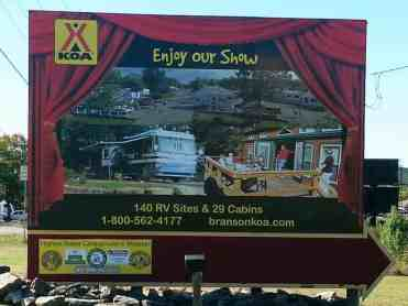 Branson KOA in Branson Missouri Sign