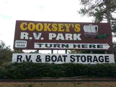 Cooksey's RV Park in Saint Augustine Florida Sign