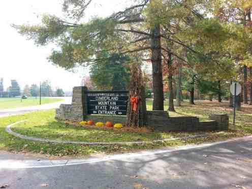 Cumberland Mountain State Park in Crossville Tennessee Sign