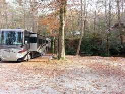 Great Smoky Jellystone Camp-Resort in Cosby Tennessee Backin by Creek