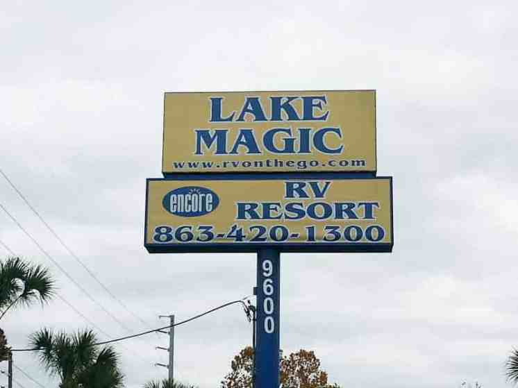 Lake Magic RV Resort in Clermont Florida Sign