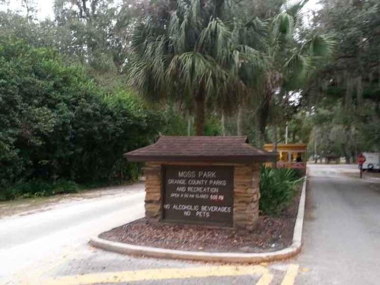 Moss Park Campground near Orlando Florida Sign