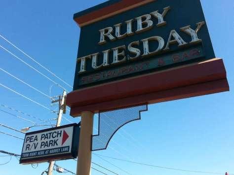Pea Patch RV Park in Branson Missouri Sign on Main Street