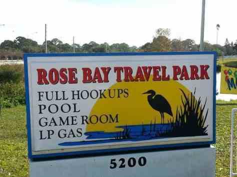 Rose Bay Travel Park in Port Orange Florida Sign