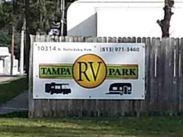 Tampa RV Park in Tampa Florida Sign