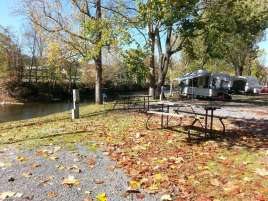 Twin Mountain RV Park in Pigeon Forge Tennessee backin by River