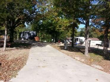 Yogi Bears Jellystone Park in Forsyth Missouri pull thru in trees