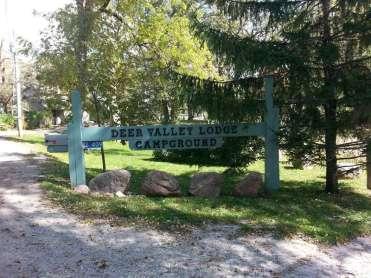 Deer Valley Lodge Campground in Ventura Iowa Sign