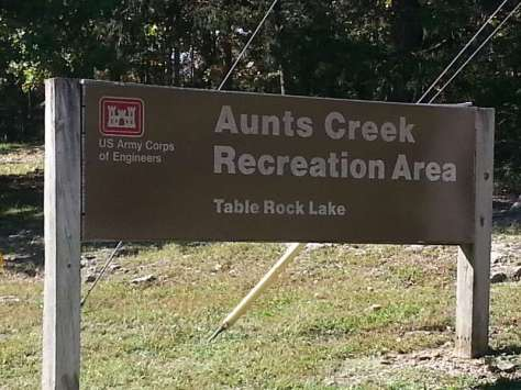 Aunts Creek COE Campground in Reed Springs Missouri (Branson West) Sign