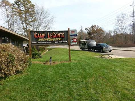 Camp LeConte Luxury Outdoor Resort in Gatlinburg Tennessee Sign