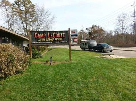 Camp LeConte Luxury Outdoor Resort in Gatlinburg Tennessee Sign