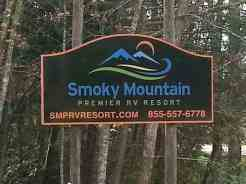Smoky Mountain Premier RV Resort near Cosby Tennessee Sign