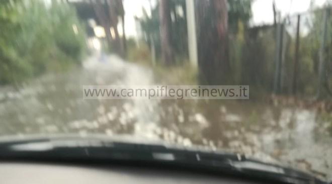 LICOLA/ Via Staffetta e via Gelsi allagate, sono degli autentici fiumi in piena