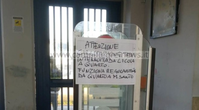 Voragine sui binari tra Quarto e Officina, Circumflegrea interrotta: notevoli disagi per i pendolari