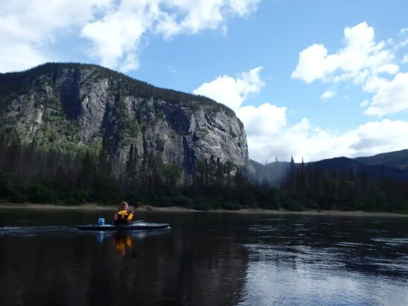 Liz Wehmeyer enjoying the scenery on the Moisie River in Quebec.