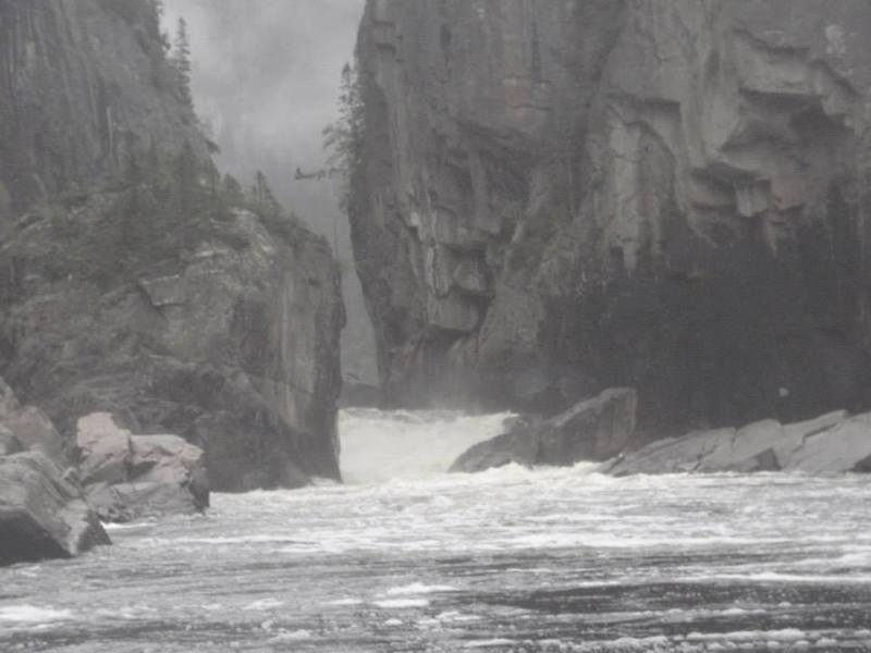 Big rapids and big canyons on the Moisie, Quebec.