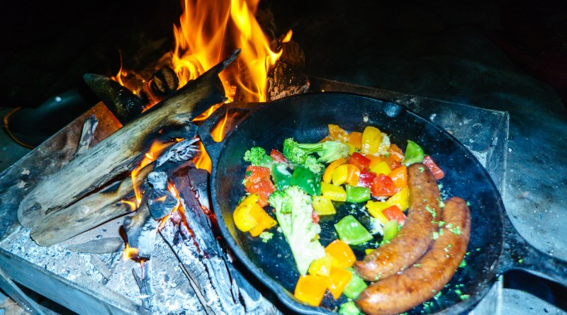 Cooking with the cast-iron skillet on a Grand Canyon self-support kayak trip.