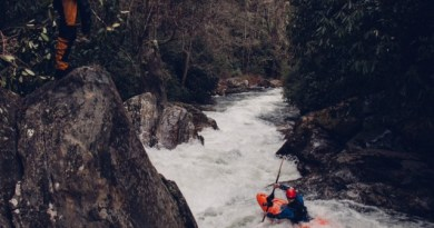 Adam Herzog in Super Corkscrew on the Upper Chattooga River. Photo by Cooper Lambla.