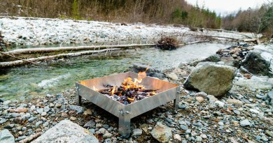 Testing out our firepan prototype on the banks of the Stawamus River.