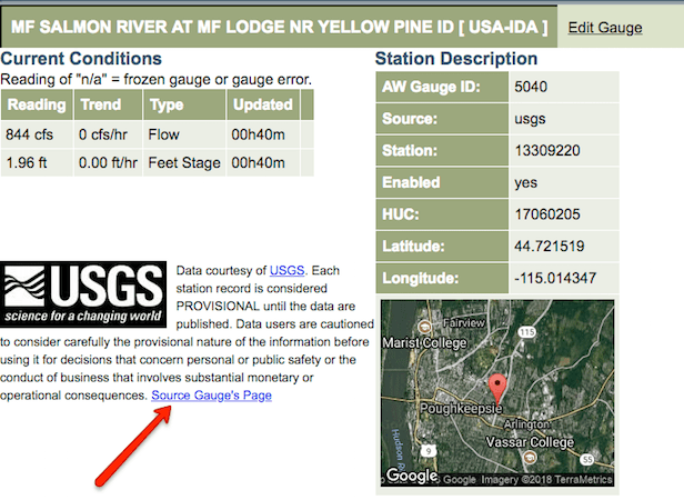 "Click the ""Source Gauge's Page"" link to head to the USGS."