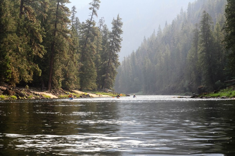 Paddling on a smoky morning on the Selway River in Idaho on a trip where we launched at low water on August 1.