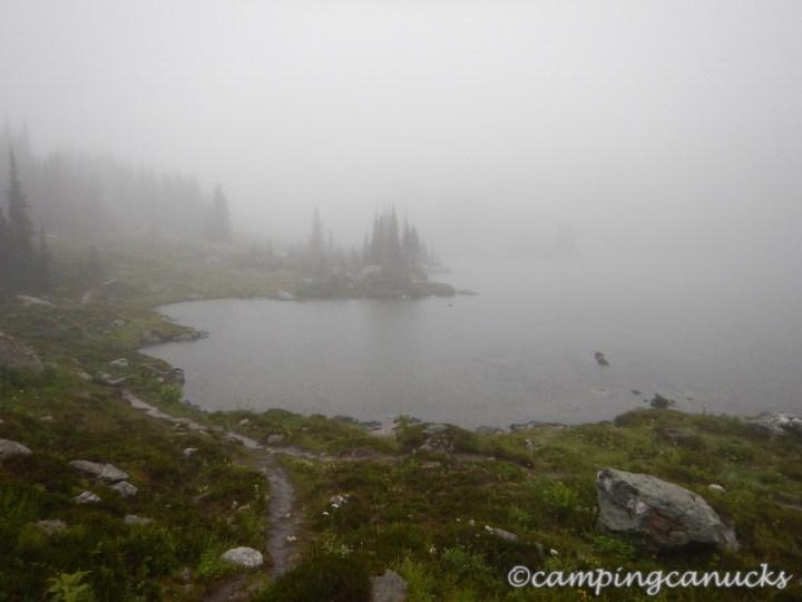 Sheila Lake in the clouds