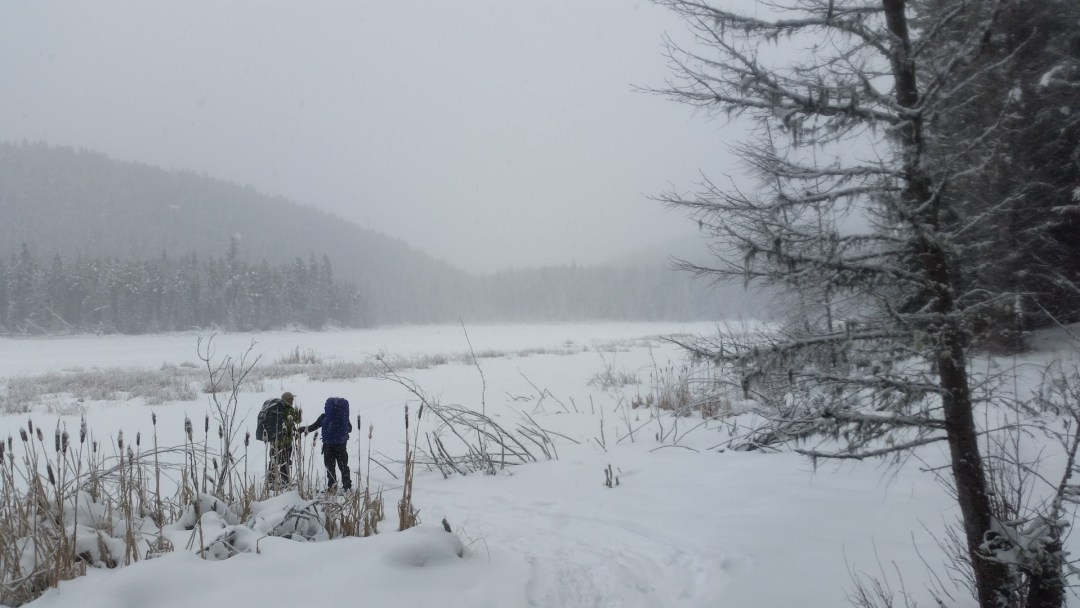 Jeremy and Kirk about to cross Bog Lake