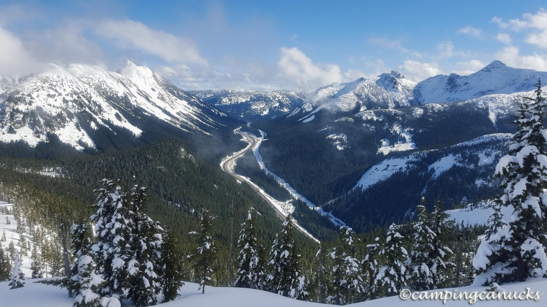 Looking down on the Coquihalla Highway