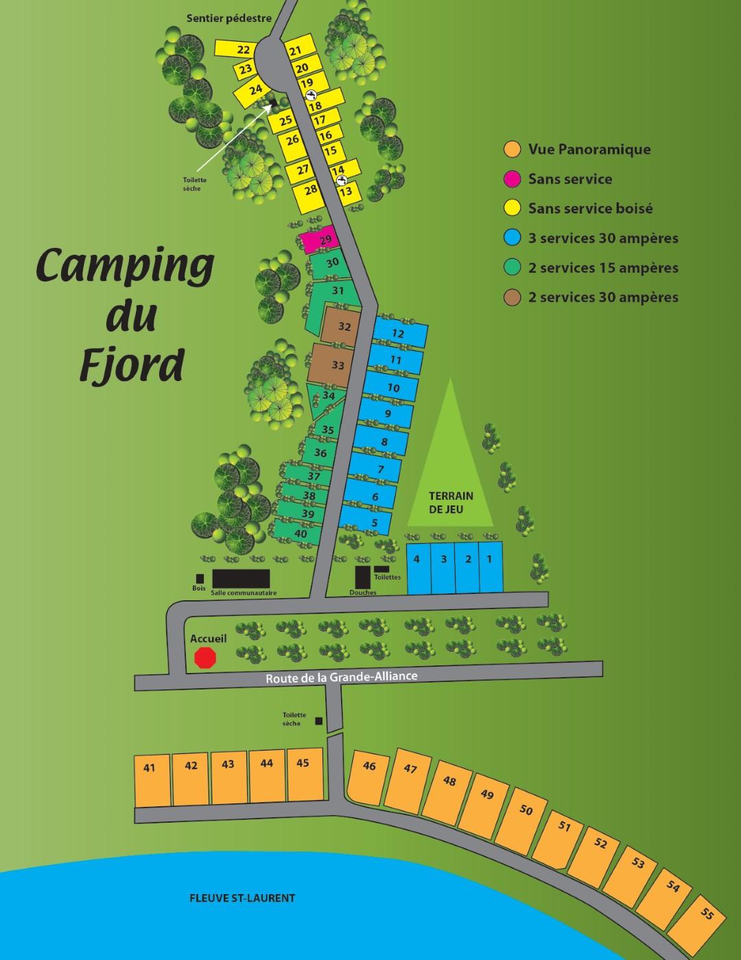 Plan des terrains de camping