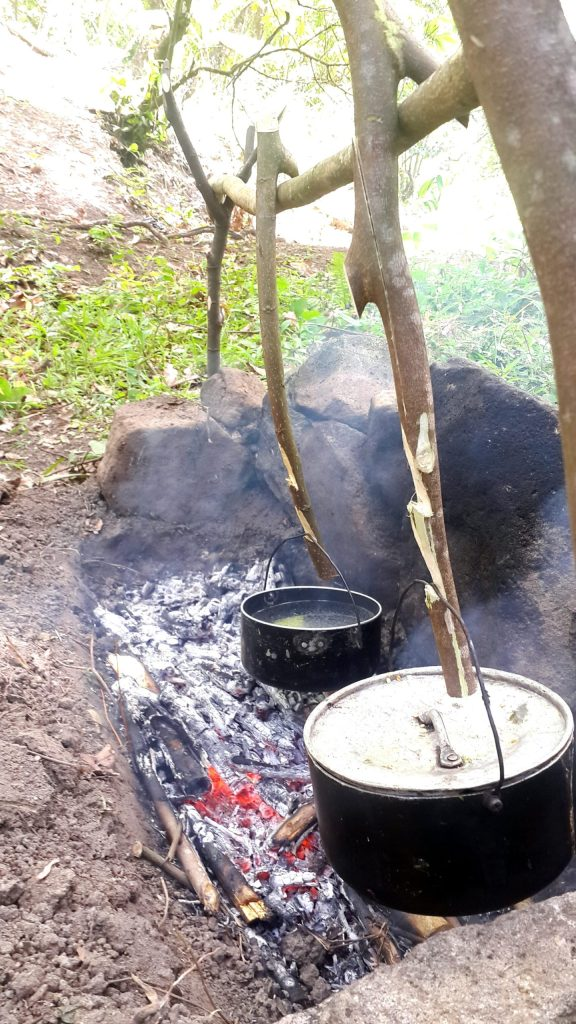 Start campfire cooking using your trench