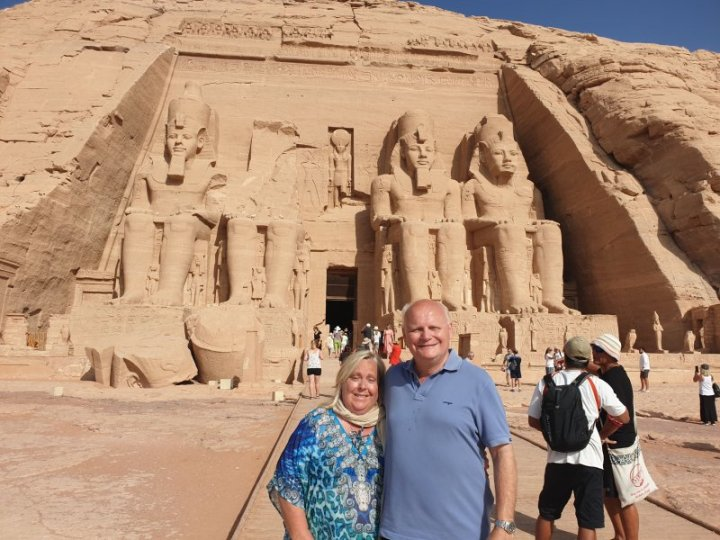James and I having a Kodak moment in front of the Abu Simbel temple dedicated to Ramses II.