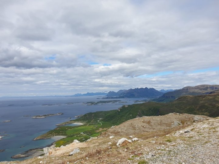 Looking out from Bodo to the Lofoten Islands Norway