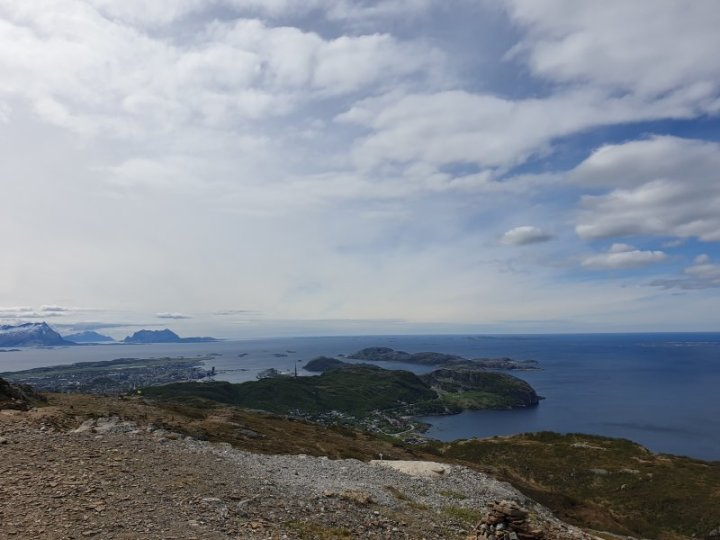 Looking down toward Bodo and its bay in Norway