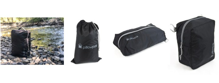 Pillowpak Assesories - the cube pack, the utility bag, the shoe bag and the packing cube.