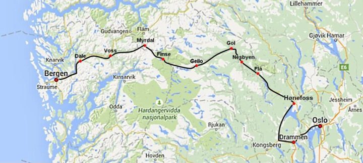 Map of Bergenbanen route - best train journey in norway